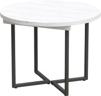 Обеденный стол Millwood Лофт Лондон D1000 / 100-140x1000x76 (дуб белый Craft/металл черный) -