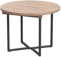 Обеденный стол Millwood Лофт Лондон D1000 / 100-140x1000x76 (дуб табачный Craft/металл черный) -