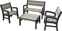 Комплект садовой мебели Keter Montero WLF Bench Set / 233152 (серый) -