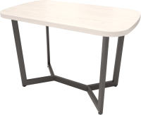 Обеденный стол Millwood Лофт Мюнхен 200x100x75 (дуб белый Craft/металл черный) -