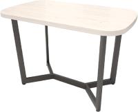 Обеденный стол Millwood Лофт Мюнхен 120x70x75 (дуб белый Craft/металл черный) -
