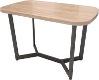 Обеденный стол Millwood Лофт Мюнхен 130x80x75 (дуб табачный Craft/металл черный) -