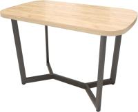 Обеденный стол Millwood Лофт Мюнхен 180x90x75 (дуб золотой Craft/металл черный) -
