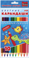 Набор цветных карандашей Hatber Морская семейка / BKd-10210 (10шт) -