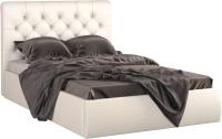 Полуторная кровать Sofos Беатриче тип A с ПМ 140x200 (Marvel Pearl Shell/пуговицы) -