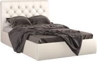 Полуторная кровать Sofos Беатриче тип A с ПМ 140x200 (Teos Milk/пуговицы) -