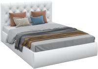 Двуспальная кровать Sofos Беатриче тип A с ПМ 160x200 (Teos White/стразы) -