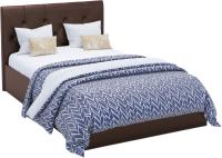 Полуторная кровать Sofos Женева тип A с ПМ 140x200 (Teos Dark Brown/пуговицы) -