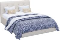 Двуспальная кровать Sofos Женева тип A с ПМ 160x200 (Teos Milk/пуговицы) -