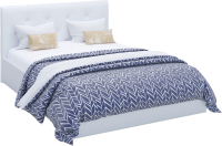 Двуспальная кровать Sofos Женева тип A с ПМ 160x200 (Teos White/пуговицы) -