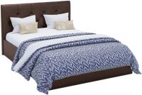 Двуспальная кровать Sofos Женева тип A с ПМ 180x200 (Teos Dark Brown/пуговицы) -