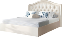 Полуторная кровать Sofos Элизабет тип A с ПМ 140x200 (Marvel Pearl Shell/пуговицы) -