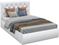 Полуторная кровать Sofos Беатриче тип A с ПМ 140x200 (Teos White/жемчуг) -