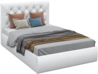 Полуторная кровать Sofos Беатриче тип A с ПМ 140x200 (Teos White/стразы) -