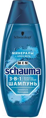 Шампунь для волос Schauma Men свежесть и увлажнение 3 в 1 минералы и алоэ вера