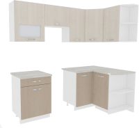 Готовая кухня ВерсоМебель Эко-5 1.2x2.1 правая (крослайн латте/крослайн карамель) -