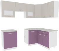 Готовая кухня ВерсоМебель Эко-5 1.4x2.2 правая (виола/кашемир) -