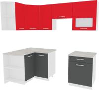 Готовая кухня ВерсоМебель Эко-5 1.2x2.1 левая (антрацит/красный чили) -