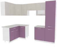 Готовая кухня ВерсоМебель Эко-5 1.4x2.6 левая (виола/кашемир) -