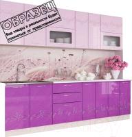 Готовая кухня Артём-Мебель Адель СН-114 со стеклом 1.8м (глянец розовый металлик/сирень металлик) -