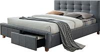 Двуспальная кровать Signal Ascot 160x200 (серый) -