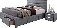 Двуспальная кровать Signal Ines 160x200 (серый) -