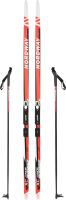 Комплект беговых лыж Nordway 15JNR01140 / 15JNR-01 (р-р 140, красный) -