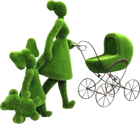 Каркасное топиари F3DF Мама с детьми (2x3.3x1) -