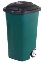 Контейнер для мусора Эльфпласт EP424 на колесах (105л, темно-зеленый/черный) -