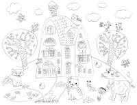 Плакат-раскраска Бумба Сказочный домик раскраска / Mr-106 -