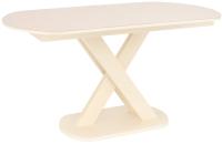 Обеденный стол Импэкс Leset Лесь (металл кремовый/стекло кремовое) -