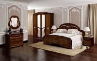 Комплект мебели для спальни Империал Алеся 160 с ламелями ШК-4 (орех/золото) -