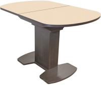 Обеденный стол Аврора Корсика стекло 110-141.5x70 (венге/молочный) -