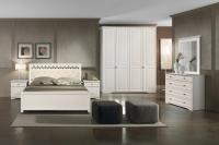 Комплект мебели для спальни Империал Ева МИ 160 с ламелями ШК-4 (кремовый) -