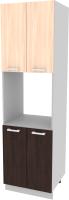 Шкаф-пенал кухонный Интерлиния Компо ПШД-№5-2145 (дуб молочный/дуб венге) -