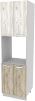 Шкаф-пенал кухонный Интерлиния Компо ПШД-№5-2145 (дуб белый/дуб серый) -