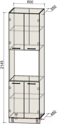 Шкаф-пенал кухонный Интерлиния Компо ПШД-№5-2145 (дуб белый/дуб серый)