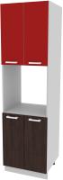 Шкаф-пенал кухонный Интерлиния Компо ПШД-№5-2145 (красный/дуб венге) -