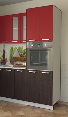 Шкаф-пенал кухонный Интерлиния Компо ПШД-№5-2145 (красный/дуб венге)