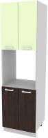 Шкаф-пенал кухонный Интерлиния Компо ПШД-№5-2145 (салатовый/дуб венге) -