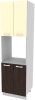 Шкаф-пенал кухонный Интерлиния Компо ПШД-№5-2145 (ваниль/дуб венге) -