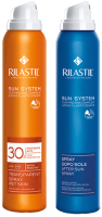 Набор косметики для тела Rilastil Sun System прозр. спрей SPF30 д/чувст. кожи+спрей увл. успокаив. (200мл) -