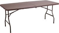 Стол складной Седия Складной 180x76x74 (коричневый/имитация ротанга) -