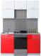 Готовая кухня Интерлиния Мила Gloss 50-15 (белый/красный) -
