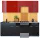 Готовая кухня Интерлиния Мила Gloss 50-22 (бордовый/черный) -