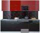 Готовая кухня Интерлиния Мила Gloss 50-25 (бордовый/черный) -