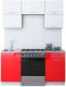 Готовая кухня Интерлиния Мила Gloss 60-16 (белый/красный) -