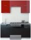 Готовая кухня Интерлиния Мила Gloss 60-16 (бордовый/черный) -
