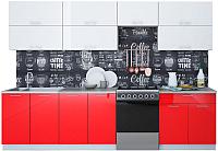 Готовая кухня Интерлиния Мила Gloss 60-30 (белый/красный) -