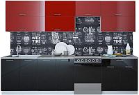 Готовая кухня Интерлиния Мила Gloss 60-30 (бордовый/черный) -